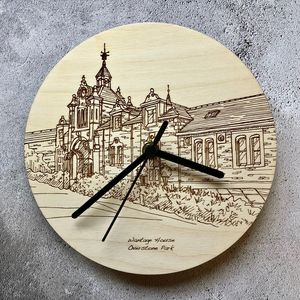 Bespoke House Portrait Line Drawing Clocks