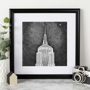 Empire State Building Illustration Print - posters & prints