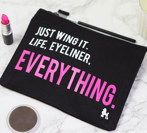 'Just Wing It' Eyeliner Make Up Bag - more