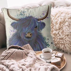 Highland Cow In Blue Decorative Cushion
