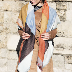 Personalised Colour Block Oversized Scarf Shawl - gifts for her