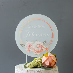 Personalised Wedding Cake Topper Rose Design