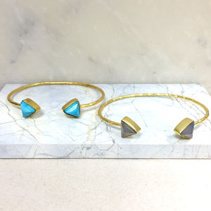 Gold Bangle With Triangle Gemstones - bracelets & bangles