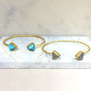 Gold Bangle With Triangle Gemstones