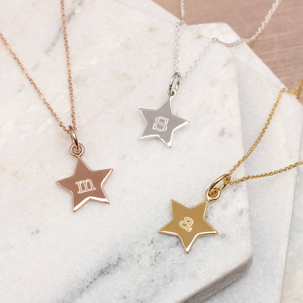 Personalised Precious Metal Initial Star Necklace