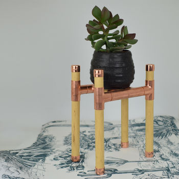 Copper And Pine Pot And Plant Stand