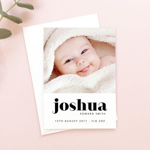 Bold Type New Baby Announcement Cards