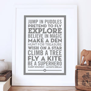 'Be A Superhero' Baby Gift Print - children's room
