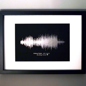 Personalised Metallic Foil Sound Wave Song Print - winter sale