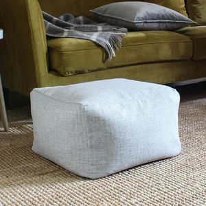 Square Grey Wool Pouffe - footstools & pouffes