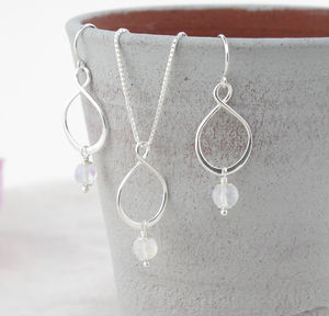 Aida Rainbow Moonstone Pendant And Earring Set - jewellery sets