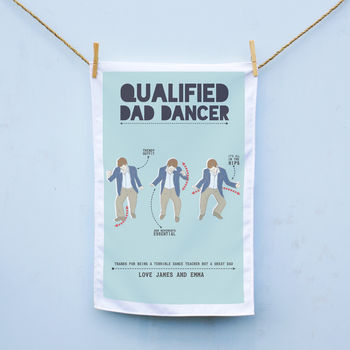 Personalised Dad Dancer Tea Towel
