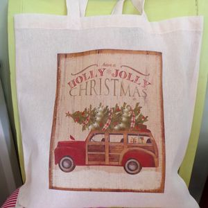 Hand Printed 'Holly Jolly' Christmas Print Shopper
