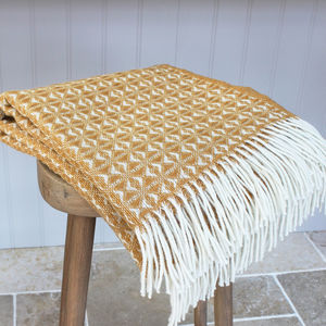 Yellow And Cream Woven Wool Throw - blankets & throws