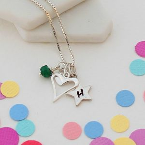 Personalised Childs Heart Necklace With Birthstones - children's accessories