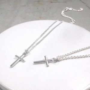 Silver Cross Christening Or Confirmation Necklace