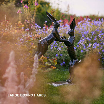Pair Of Boxing Hares Made From Recycled Metals