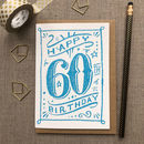 60th Birthday 60th Card Blue Chalk