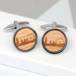Wooden London Skyline Cufflinks - men's jewellery