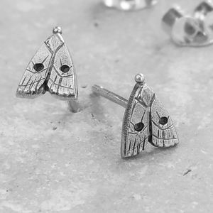 Anna's Delightful Silver Moth Stud Earrings - earrings