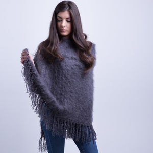 Charcoal Fluffy Poncho With Collar - women's fashion