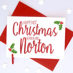 Personalised Couple's First Christmas Calligraphy Card - cards & wrap