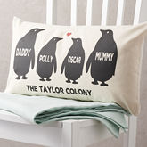 Personalised Penguin Family Cushion - mum loves
