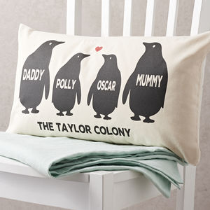 Personalised Penguin Family Cushion - bedroom
