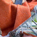 Orange And Grey Woven Wool Throw