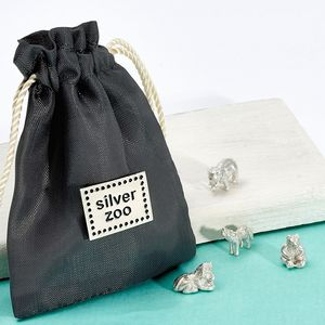 Four Sterling Silver Zoo Animals In Pouch Keepsake