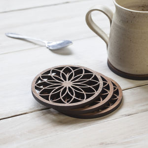 Flower Petal Walnut Coaster Set - dining room