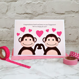 'Monkeys' Personalised Engagement Card