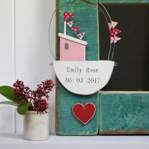 Personalised Hanging Fishing Boat With Heart