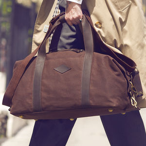Waxed Canvas And Leather Duffle Bag - gifts for him