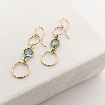 Gold Circle Gemstone Earrings