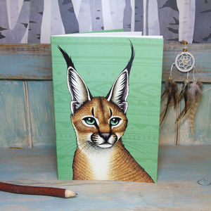 Caracal Illustration Notebook With Lined Pages