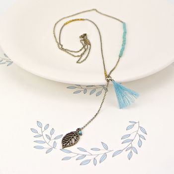 Leaf And Tassel Long Necklace