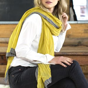 Personalised Mustard To Grey Pleated Scarf - scarves