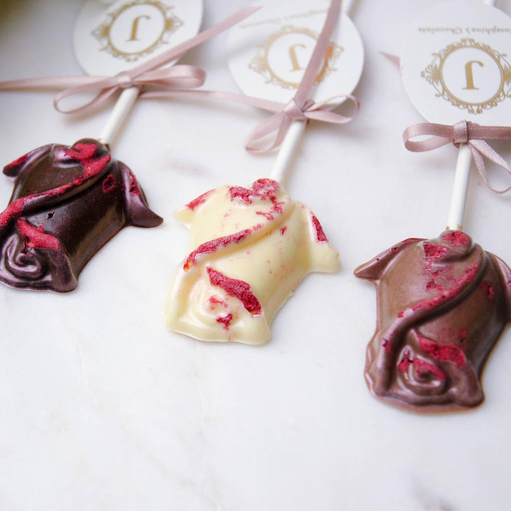 chocolate rose lollipop wedding favours, 10 by josephine\'s chocolate ...