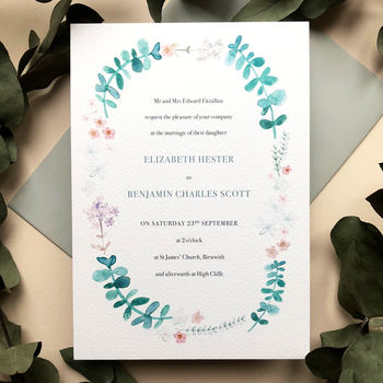 Eucalyptus Wreath Wedding Invite Sample
