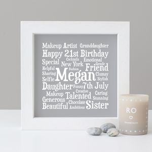 Birthday Personalised 21st Word Art Gift