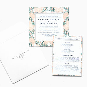 Vintage Floral Print Invitation Suite - wedding stationery