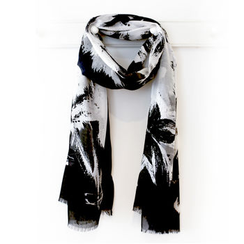 Black And White Abstract Print Scarf, Gift Box And Card