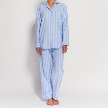 Women's Pyjamas In Blue And White Striped Flannel