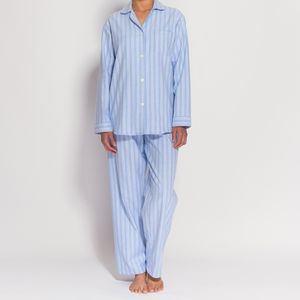 Women's Pyjamas In Blue And White Striped Flannel - lingerie & nightwear