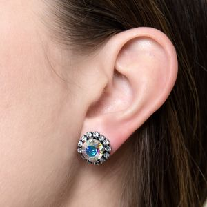 Round Multi Coloured Crystal Earrings