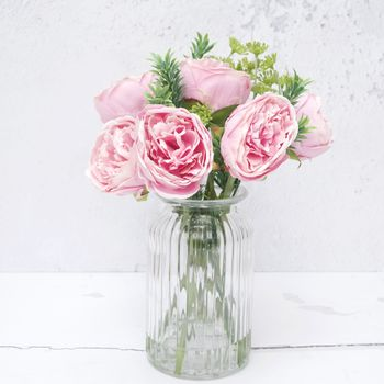 Luxury Pink Artificial Peony Bouquet In Vase Or Loose