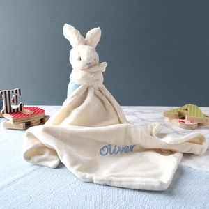 Personalised Pink And Blue Bunny Soother Blanket - blankets, comforters & throws