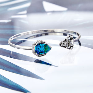 Blue Jewelled Geometric Bangle