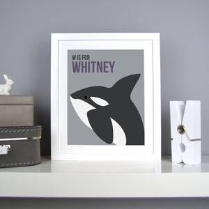 Personalised Whale Nursery Print